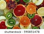 fruit textures. kiwi orange... | Shutterstock . vector #590851478