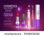 cosmetic lipstick  mascara and... | Shutterstock .eps vector #590855030