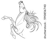 coloring page horse portrait.... | Shutterstock .eps vector #590856740