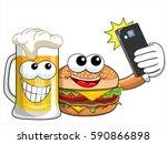 cartoon hamburger and beer... | Shutterstock .eps vector #590866898