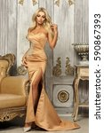 pretty sexy blonde woman... | Shutterstock . vector #590867393