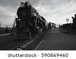 old locomotive in the railroad... | Shutterstock . vector #590869460