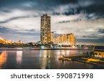 fantastic night time skyline... | Shutterstock . vector #590871998