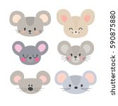 set of cute mouses. funny... | Shutterstock .eps vector #590875880