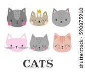 set of cute cats. funny doodle... | Shutterstock .eps vector #590875910