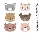 set of cute bears. funny doodle ... | Shutterstock .eps vector #590875964