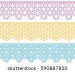 set of colorful lace seamless... | Shutterstock .eps vector #590887820