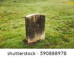 Grave Yard Tomb Stone In Misty...