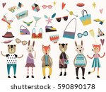 set of cute fashion animals and ... | Shutterstock .eps vector #590890178