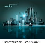 modern night city skyline | Shutterstock .eps vector #590895098