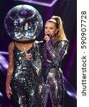 Small photo of VAXJO, SWEDEN - FEBRUARY 17, 2017: Clara Henry and Alcazar performs at the third semi-final of Melodifestivalen 2017 in Vaxjo.