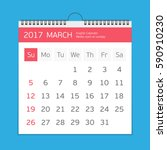2017 march calendar template.... | Shutterstock .eps vector #590910230