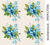 seamless floral pattern with... | Shutterstock .eps vector #590917550