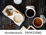 coffee cup take away at wooden... | Shutterstock . vector #590922980