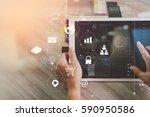 businessman working with... | Shutterstock . vector #590950586