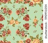 flower tulip watercolor in a... | Shutterstock . vector #590951054