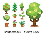 cartoon garden green tree... | Shutterstock .eps vector #590956229