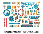 machine parts gears different... | Shutterstock .eps vector #590956238
