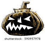 a dark  shadowy pumpkin carved... | Shutterstock .eps vector #590957978