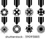Vector Set Of Black War Medals...