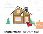 detached house in the winter... | Shutterstock .eps vector #590974550