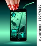 a woman uses a cell phone as if ... | Shutterstock .eps vector #590976890