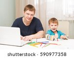 little boy drawing while his ... | Shutterstock . vector #590977358