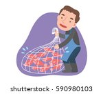 the fisherman is catching fish... | Shutterstock .eps vector #590980103