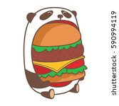 hungry kawaii panda eating huge ... | Shutterstock .eps vector #590994119