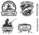 set of the tuna fishing labels. ...   Shutterstock .eps vector #590996288
