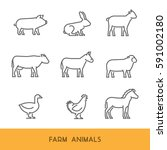 line farm animals isolated on... | Shutterstock . vector #591002180