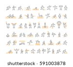 line sports icons. black linear ... | Shutterstock . vector #591003878