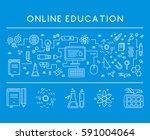 line design concept web banner... | Shutterstock . vector #591004064