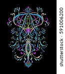 embroidery. embroidered design... | Shutterstock .eps vector #591006200
