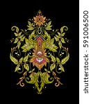 embroidery. embroidered design... | Shutterstock .eps vector #591006500