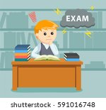 male student worrying about his ... | Shutterstock .eps vector #591016748