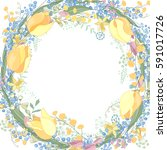 round blank frame with pretty... | Shutterstock .eps vector #591017726