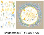 round frame with pretty flowers ... | Shutterstock .eps vector #591017729