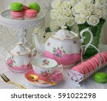 pink and white afternoon tea   Shutterstock . vector #591022298
