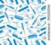 cute pattern of scissors for... | Shutterstock .eps vector #591023546