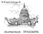 front view of the us capitol... | Shutterstock .eps vector #591026096