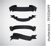 set of premium black ribbons... | Shutterstock .eps vector #591026099