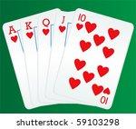 poker cards showing royal flush | Shutterstock .eps vector #59103298