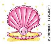 sea pearl in shell. smiley sea... | Shutterstock .eps vector #591036944