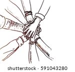 unity of hands sketch vector... | Shutterstock .eps vector #591043280