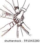 unity of hands sketch vector... | Shutterstock .eps vector #591043280