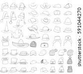 Vector Big Set Of Sketch Hats...