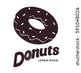 donut logo vector illustration. ... | Shutterstock .eps vector #591048026