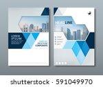 blue annual report brochure... | Shutterstock .eps vector #591049970