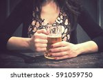 girl is drinking a beer vintage ... | Shutterstock . vector #591059750